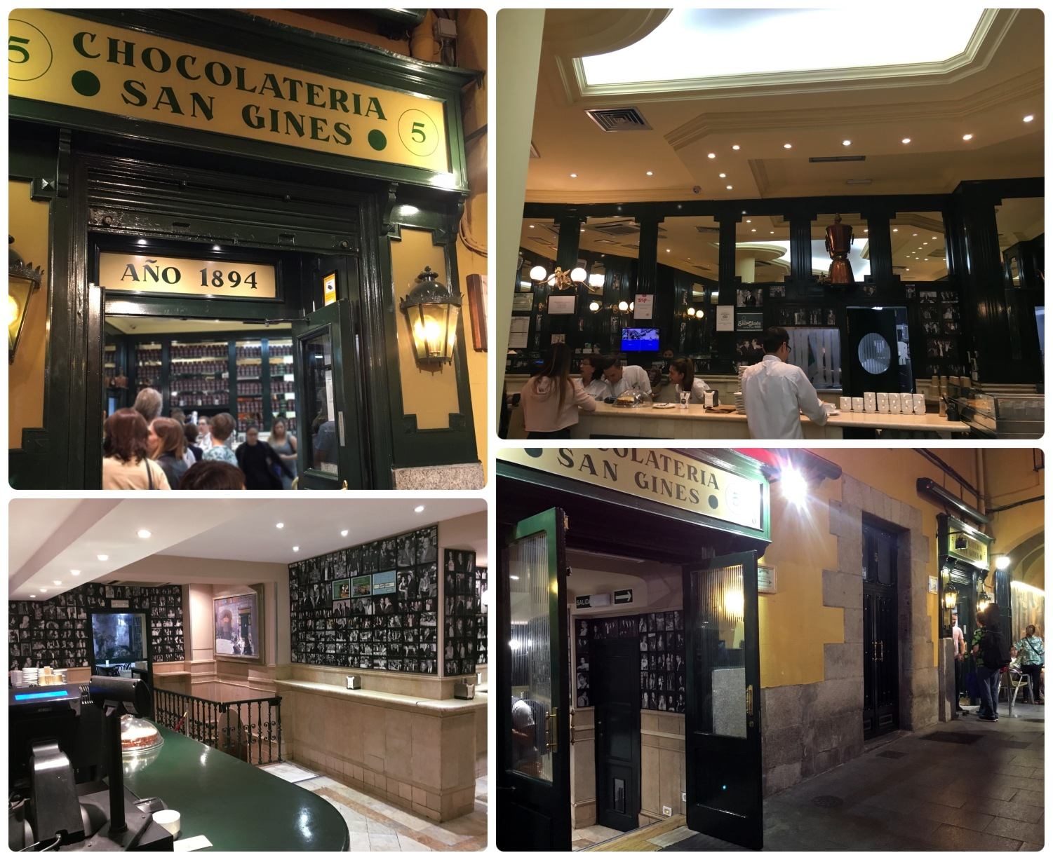 When we arrived at Chocolateria San Gines it was still early for most, but there was a line out the door to order! We stood in line to order at the side door (top left image) and noticed that there was a second ordering area to the left for when it gets really busy (bottom right image).