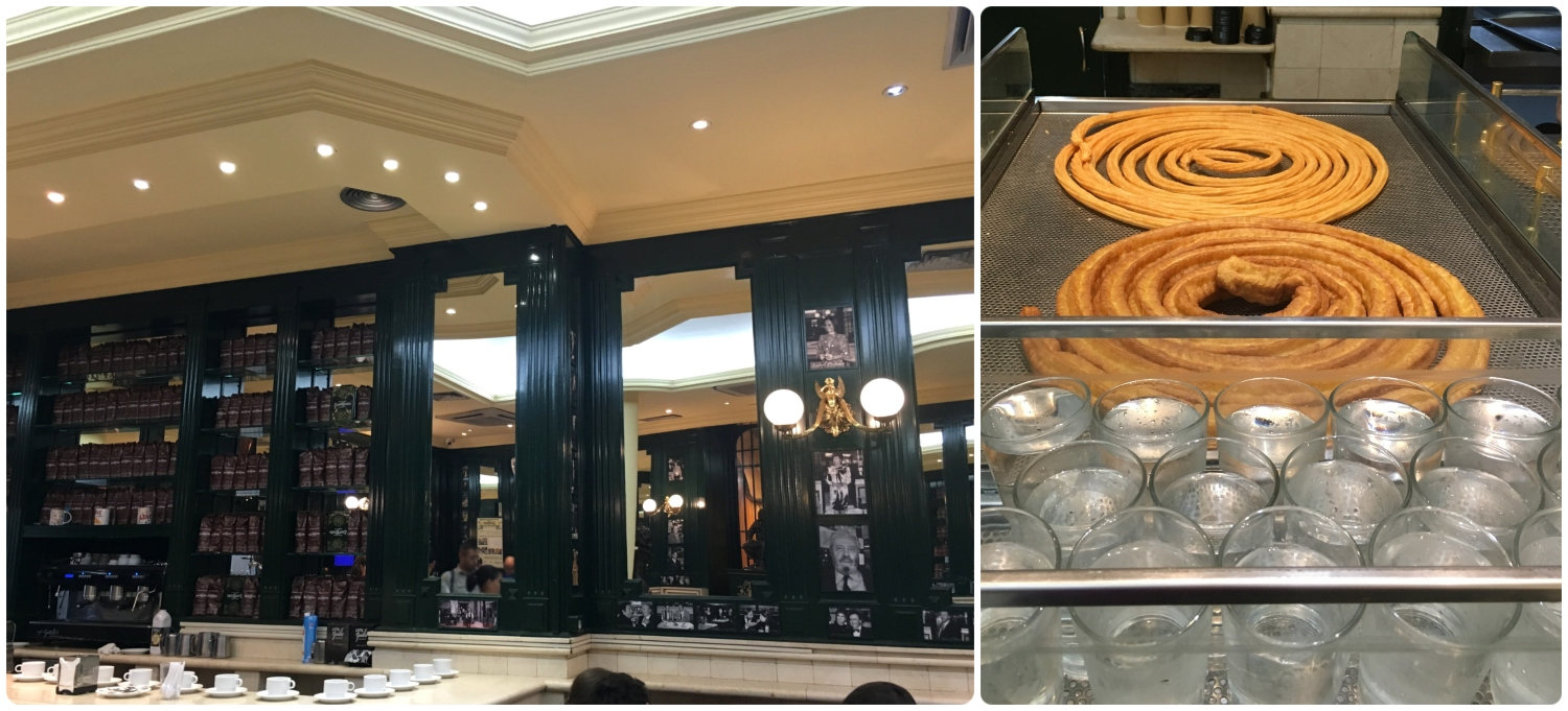 Chocolateria San Gines in Madrid, Spain. Left to right: The classic interior design features a wall of coffee and images of famous customers, the churros and porras are deep fried in a vat and come out in a large spiral form.