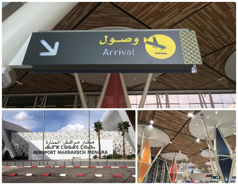 Marrakech Menara Airport MAK interior architecture arrivals inside colorful modern