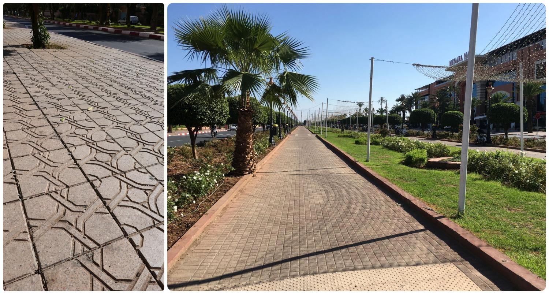 Marrakech Menara Airport MAK walk to hotel walkable wide sidewalkdesign tiles unique