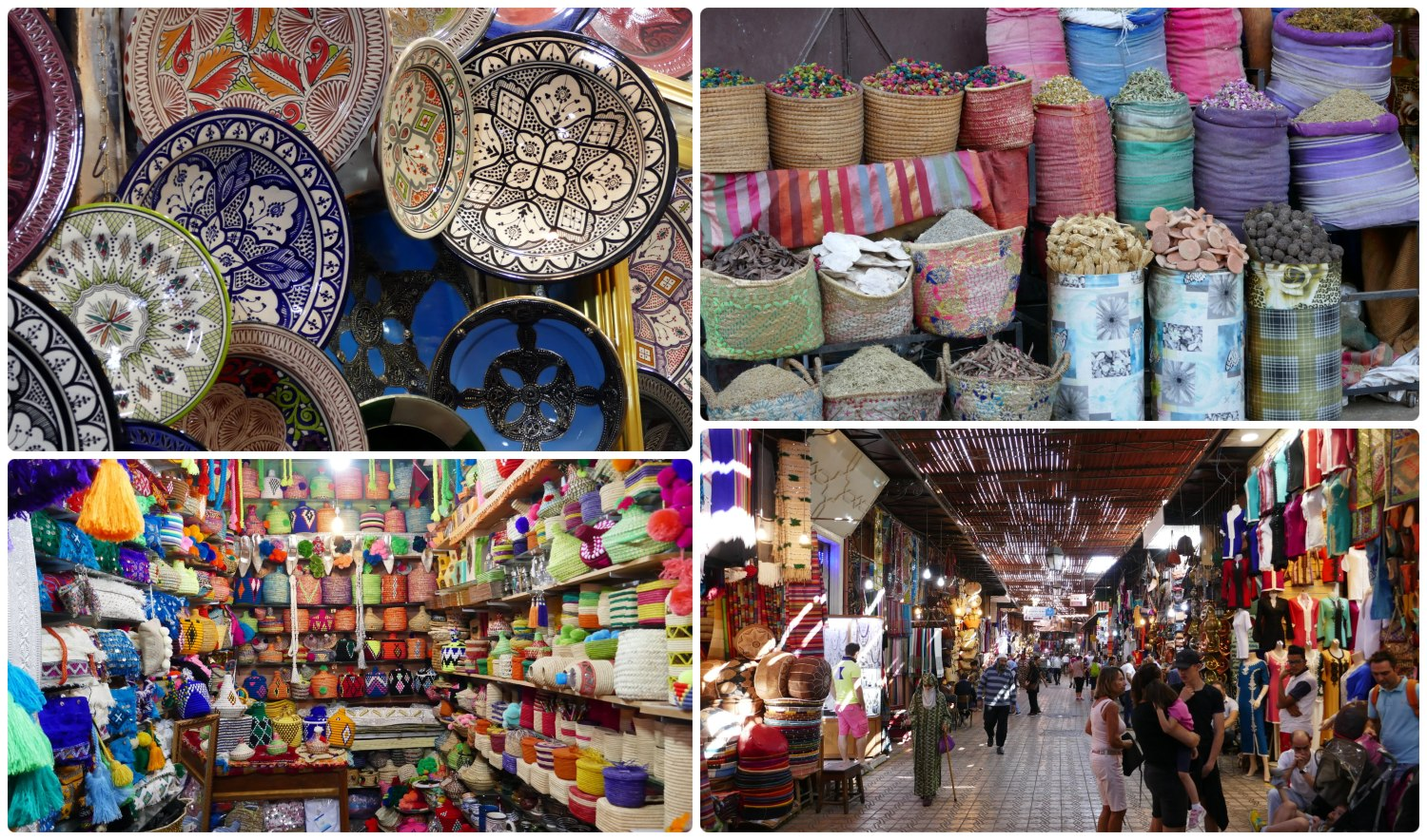 Marrakech Marrakesh Morocco Tourist Tips and travel information city guide how to what to know before you visit where to stay hotels riads medina souks market shops bargain haggle hassel pottery spices food woven handmade scarves hectic chaotic shopping shop tips how to
