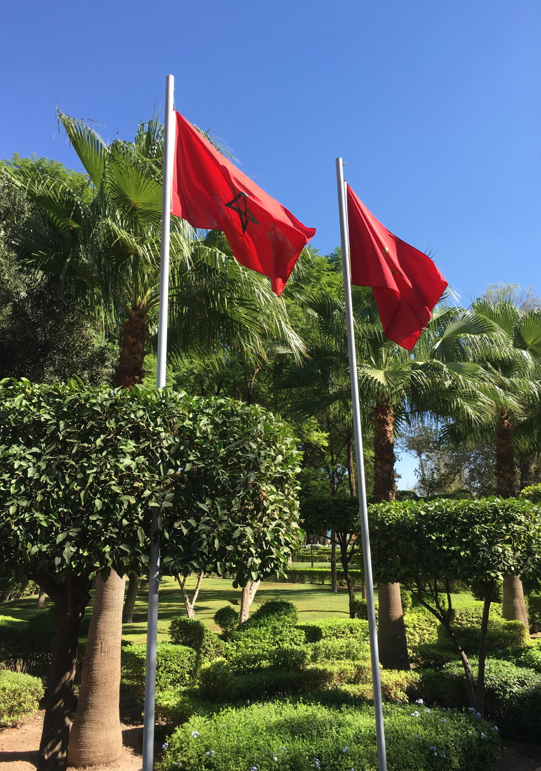 Marrakech Marrakesh Morocco Tourist Tips and travel information city guide how to what to know before you visit where to stay hotels riads moroccan flag park marrakech flag red green star middle flying