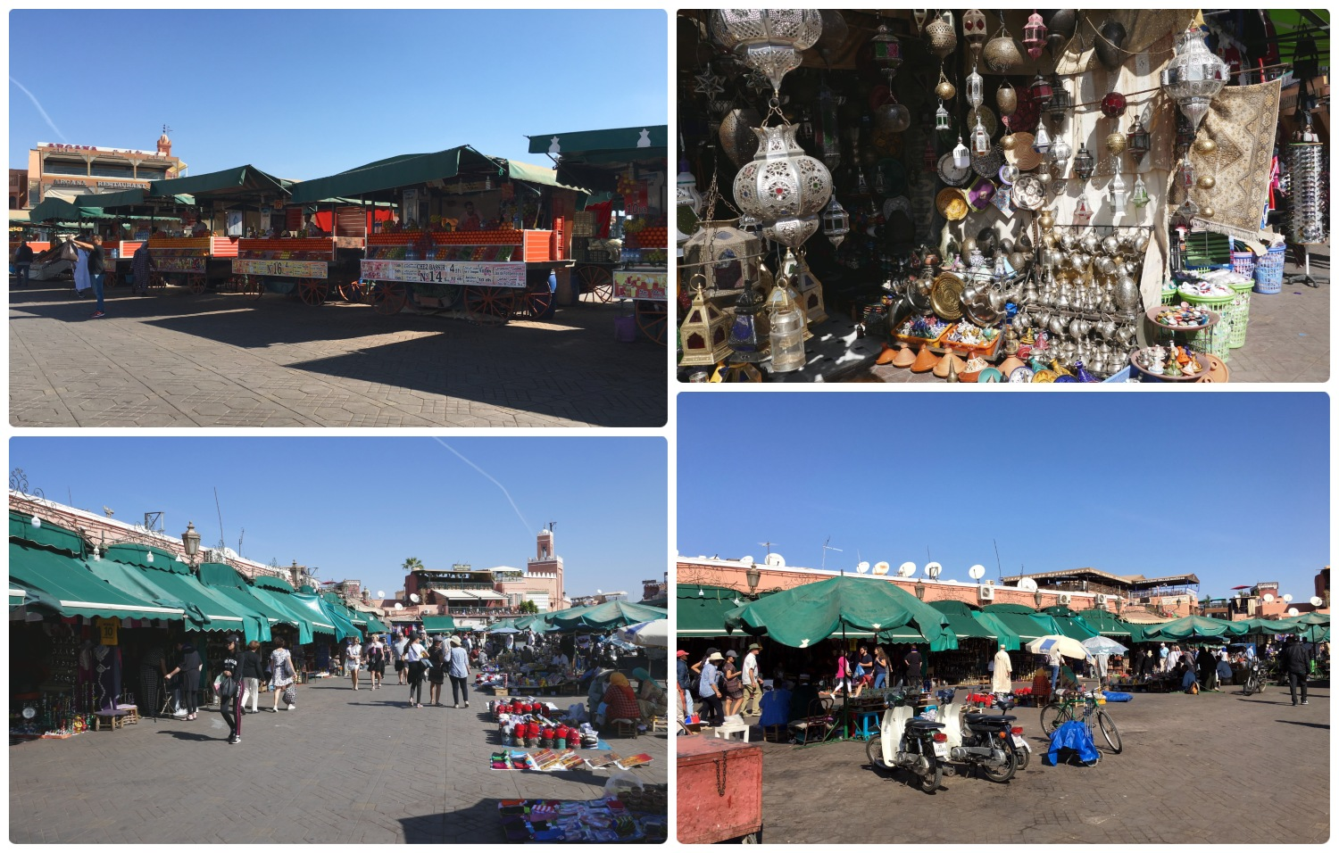 Jemaa el Fna Square in the Medina (Old Town), Marrakech, Morocco. It's the original center of the souks (Arabic market), although they've grown so much over the years that they've spread out well beyond Jemaa el Fna.