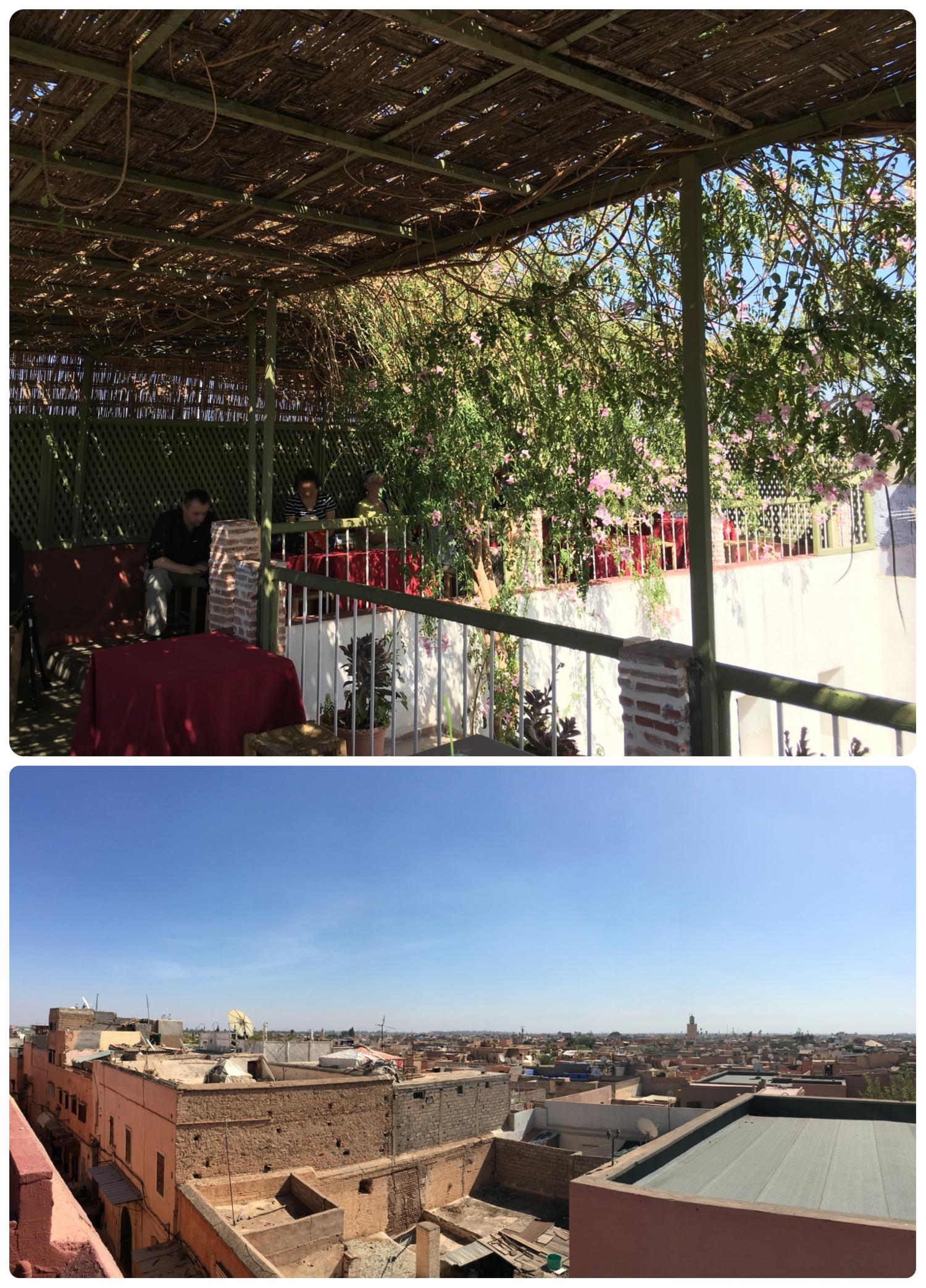 The cafe and rooftop terrace with city views at the Museum of Photography - House of Photography in Marrakech, Morocco.
