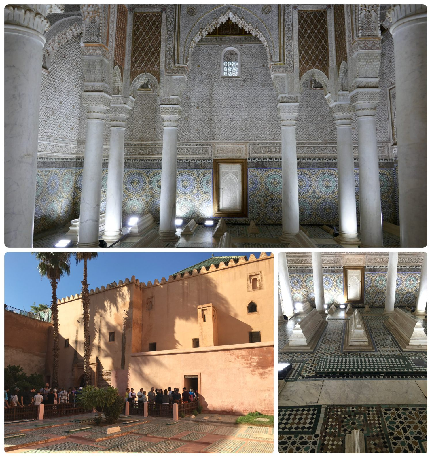 Saadien Tombs in the Medina (Old Town), Marrakech, Morocco. Inside is the most famous chamber (Chamber of the 12 Columns) and there's a queue to get a glimpse of it's beauty.