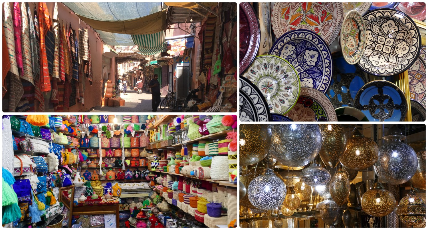 Souks (traditional Arabic outdoor markets) in the Medina (Old Town), Marrakech, Morocco.