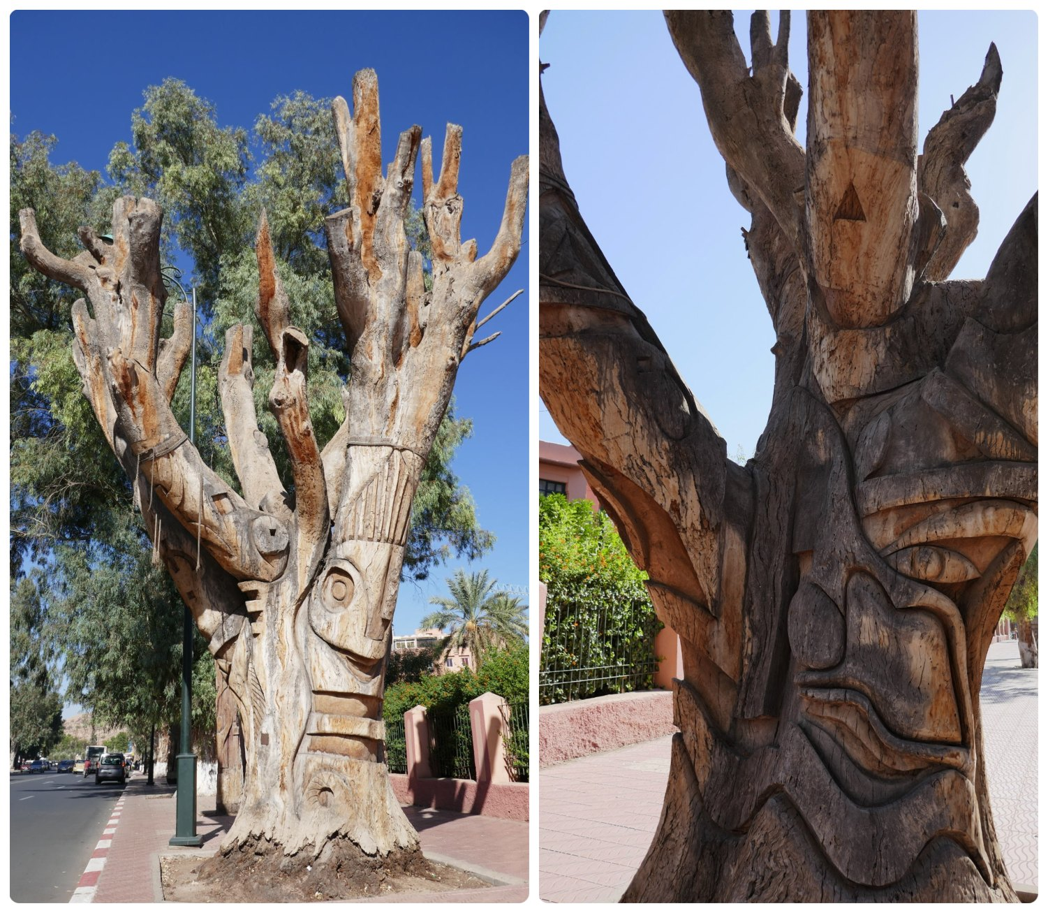 Dead Tree Sculpture in New Town, Marrakech, Morocco. Don't miss the creative artwork that gives dead trees in New town Marrakech a second life!