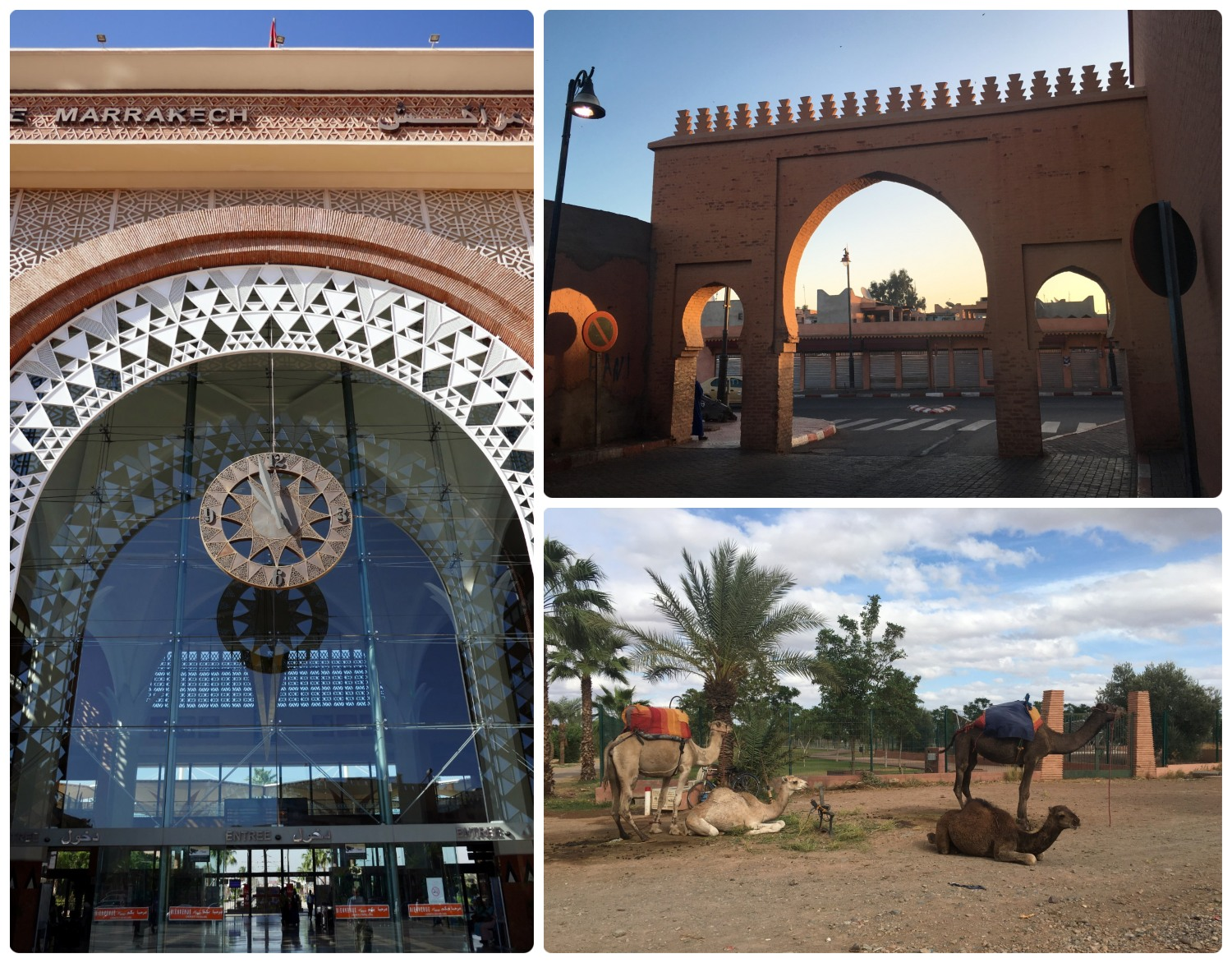 Marrakech, Morocco is a place of modern design (the train stations in New Town in the left image), historical sights (a gate in the Medina - Old Town in the top right image), and rich culture (camels in bottom right image).