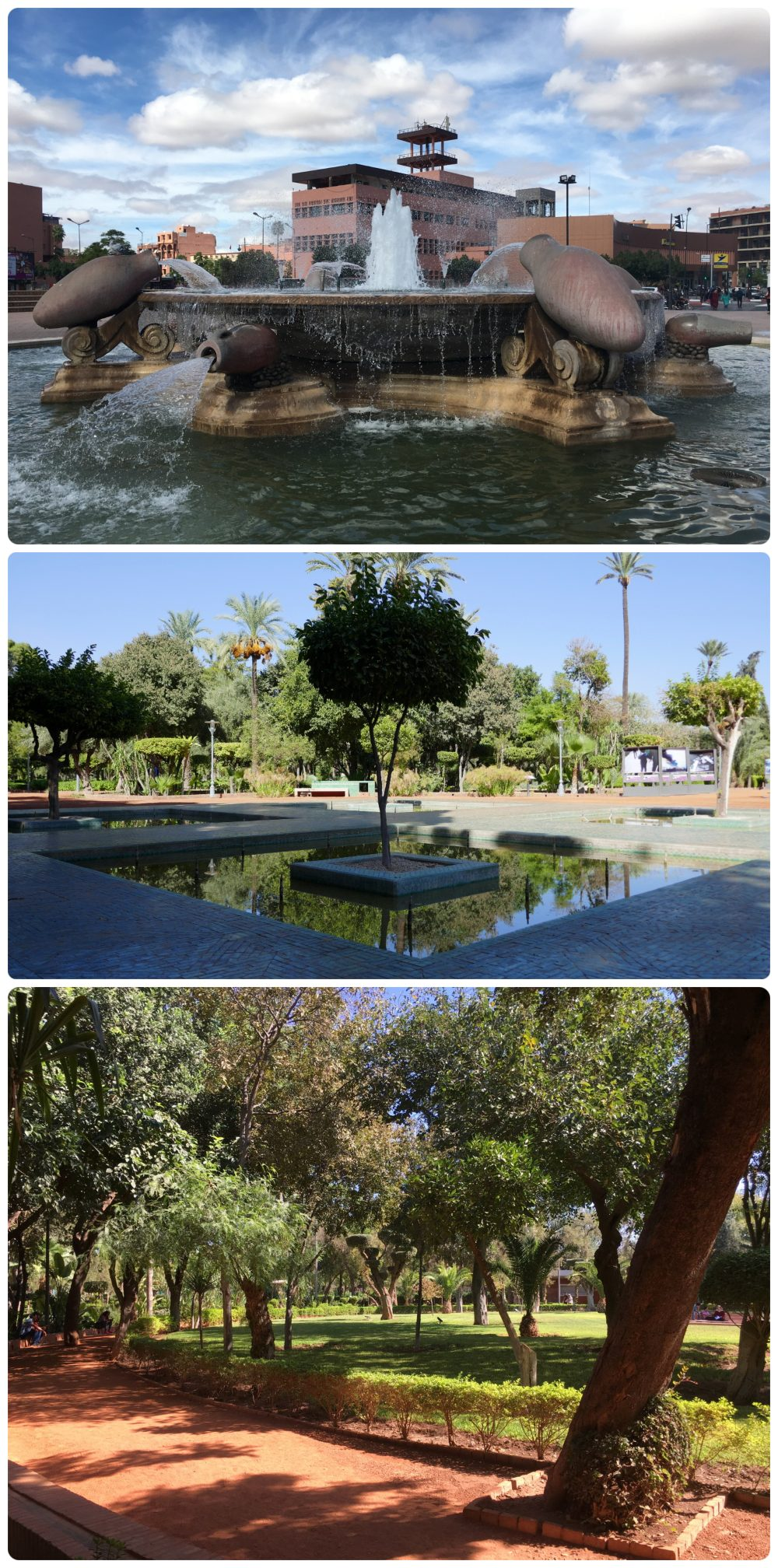 Fountains and parks in Marrakech, Morocco.