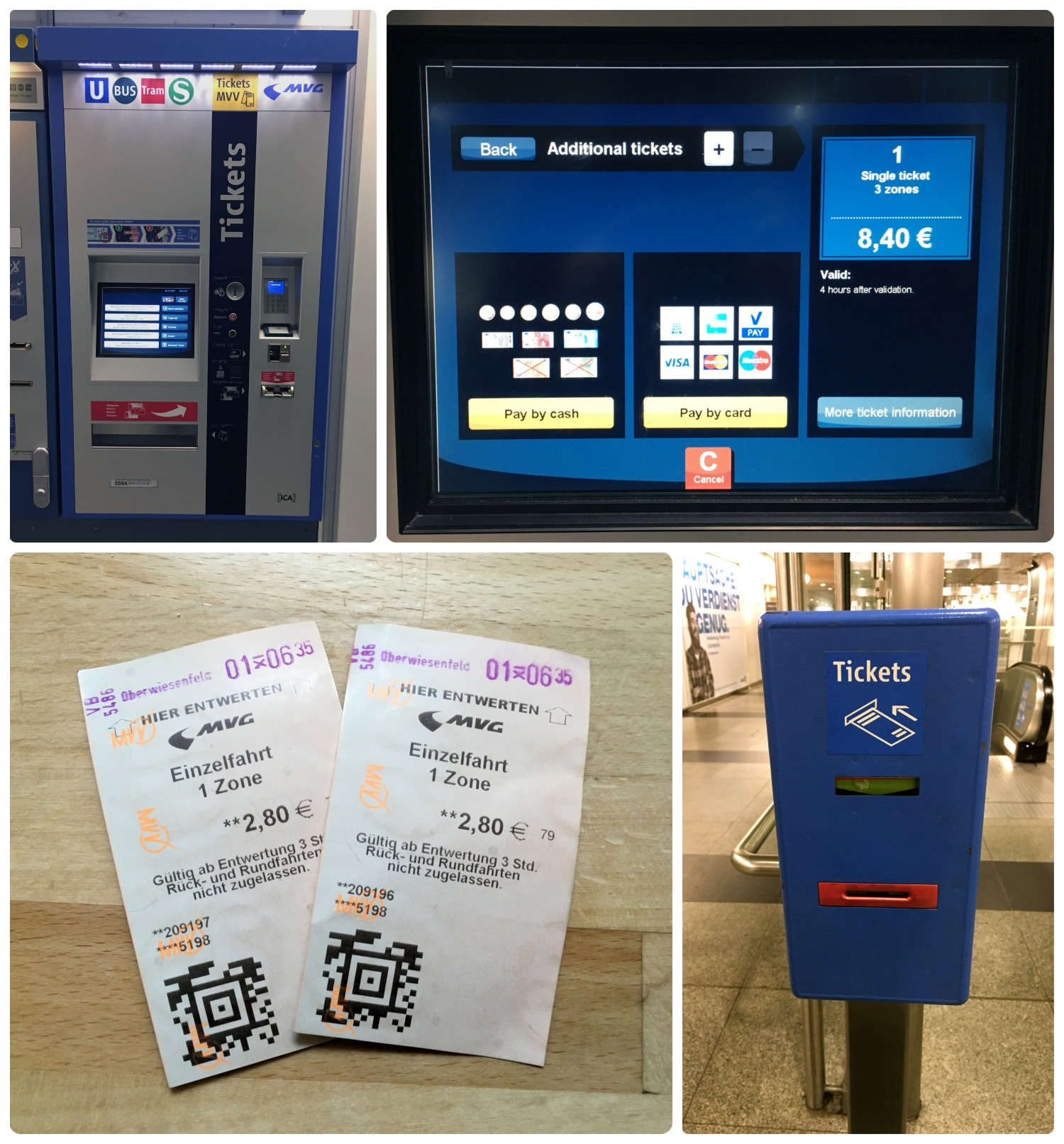 Munich, Germany public transportation. Clockwise (from the top left): Ticket machine for MVV transportation (U-Bahn, S-Bahn, bus, and tram), touchscreen interface to purchase tickets, machine to validate transportation tickets  before  boarding (typically found on train platforms and near ticket machines), our public transportation tickets valid for one zone.