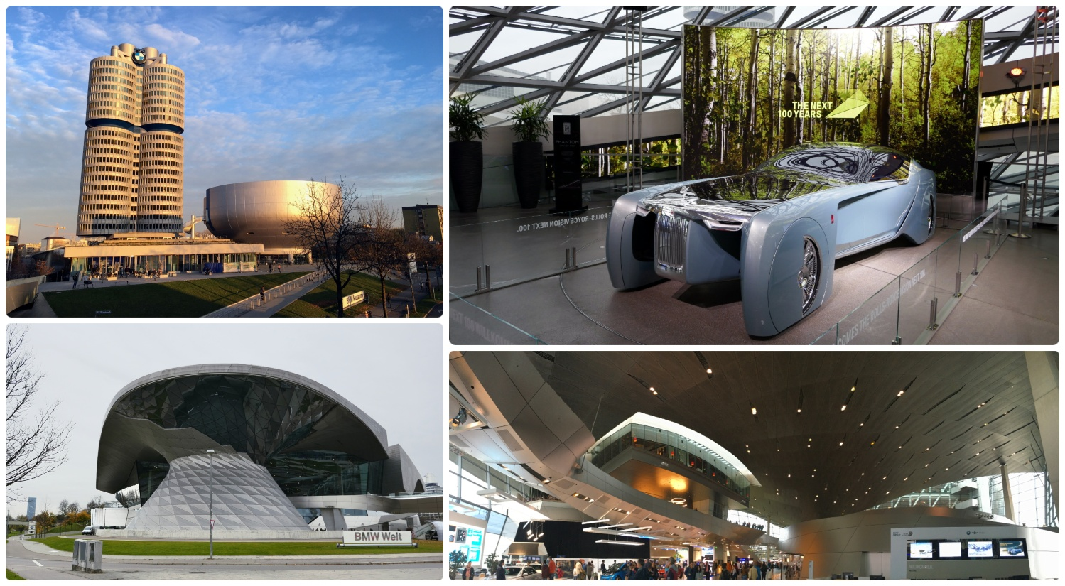 The BMW complex in Munich, Germany offers a free gallery (BMW Welt) and a paid museum (BMW Museum), both housed in beautiful modern buildings.