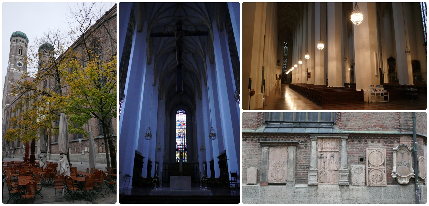 Frauenkirche (aka Münchner Dom or Munich Cathedral) is located in Munich, Germany. Visit at dawn and you may get to see the progression of the lights turning on inside the cathedral!