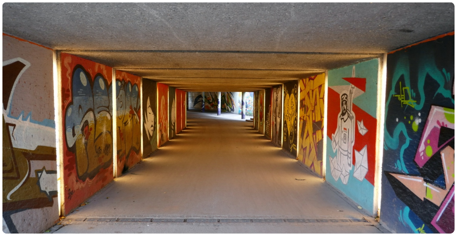 For a great display of street art (murals), be sure to check out the tunnels that run under the Angel of Peace (Friedensengel) in Munich, Germany.