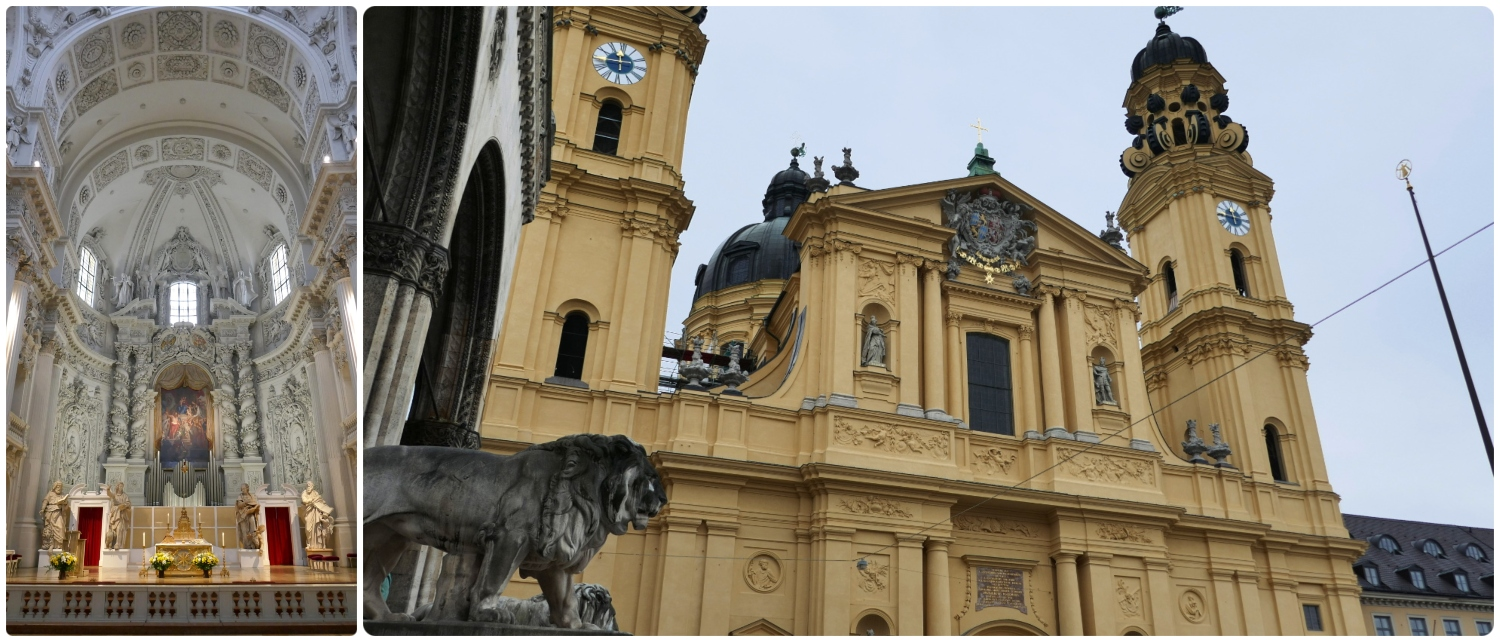 The interior and exterior of Theatine Church of St. Cajetan (Theatinerkirche) in Odeon Square (Odenplatz), Munich, Germany.