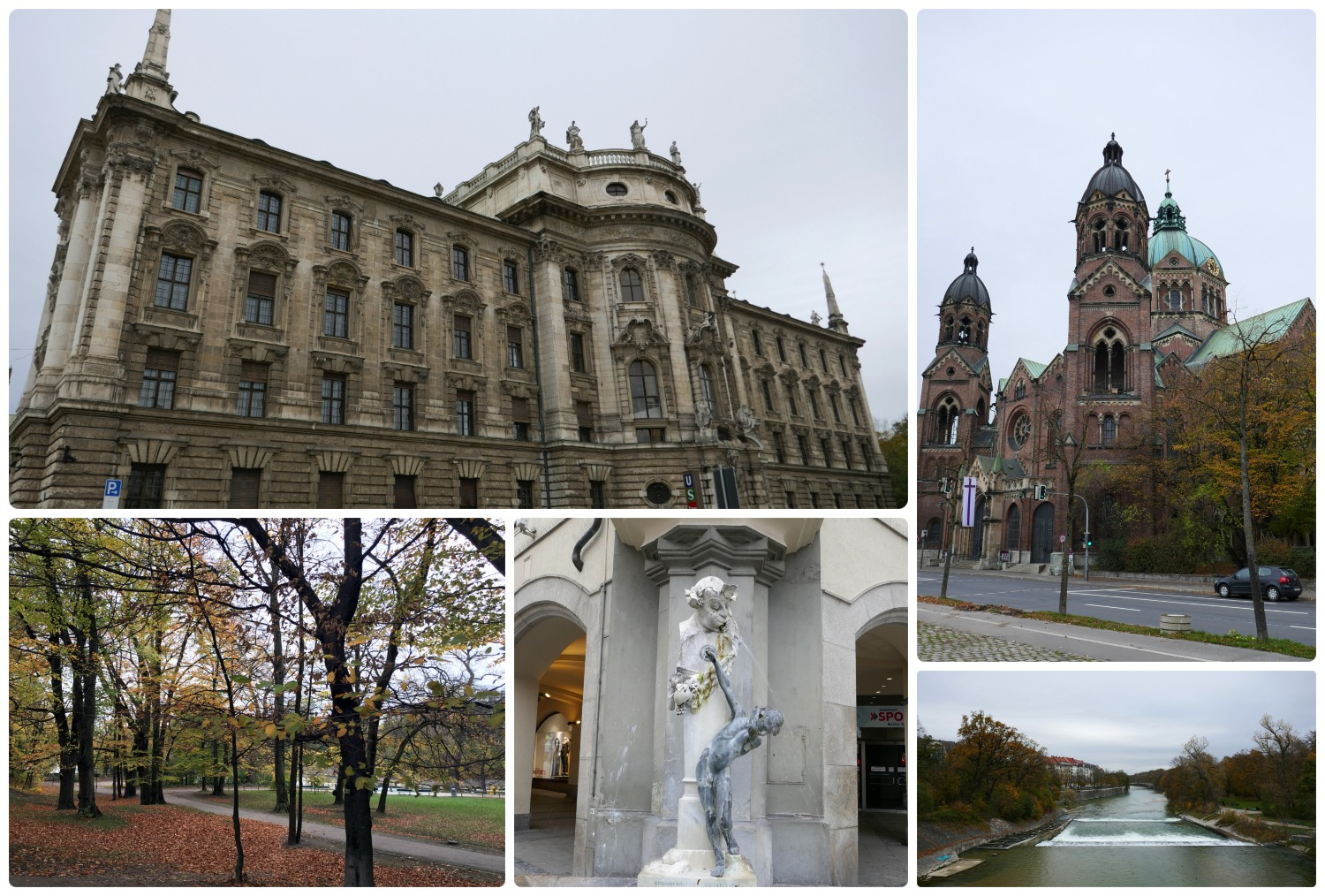 Sightseeing in Munich, Germany. Although many of the museums we wanted to visit were closed due to a holiday, there was still so much to see in Munich! Clockwise (from the top left): District Court Munich I (Landgericht München I), St. Luke's Church, Isar River, Boy at the Fountain (Brunnenbuberl), Maximiliansanlagen Park.