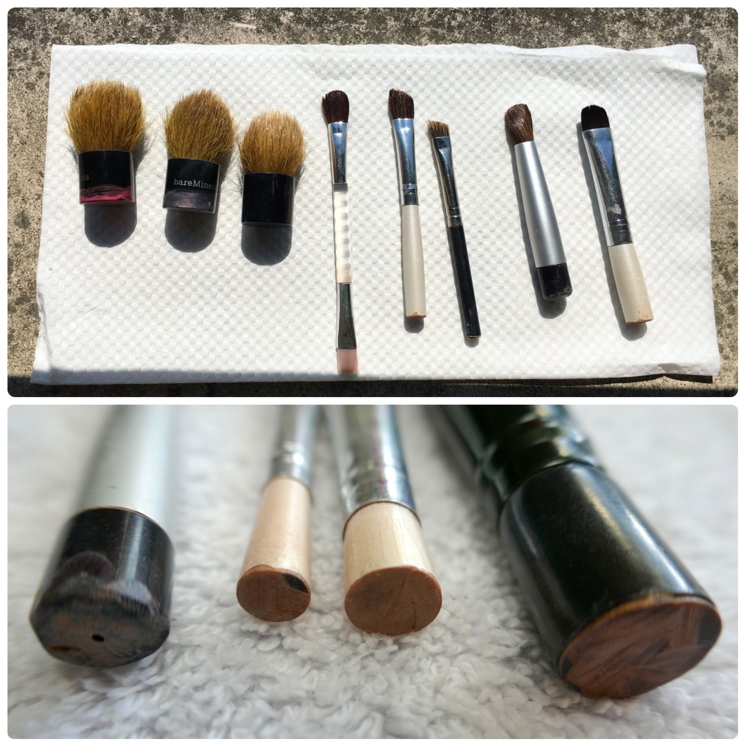 Top: My DIY travel makeup brush set is my favorite full sized brushes with a modified (cut) handle! This is the entire set, minus my foundation brush. Bottom: The ends of my travel makeup brush after cutting and sanding.