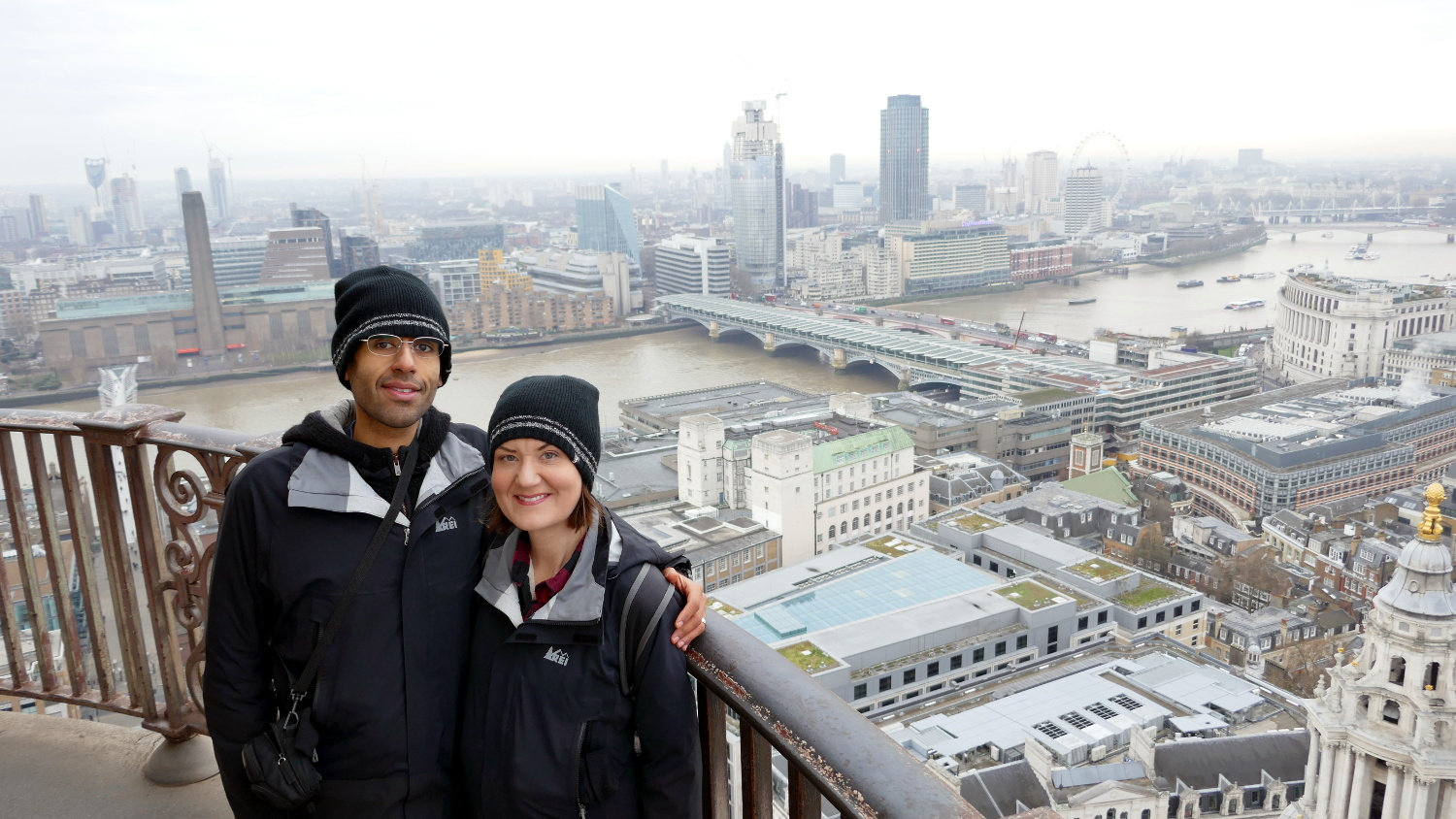 Us enjoying the view from the dome of St. Paul's Cathedral! It's a trek to climb up, but worth it!