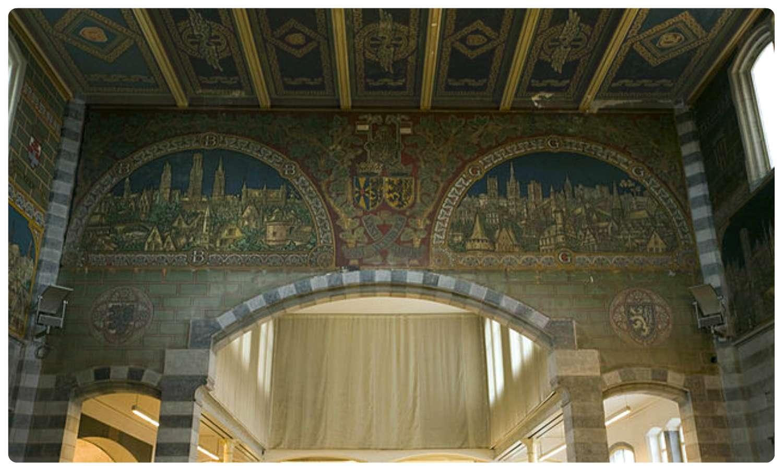 The murals inside Gent-Sint-Peters Train Station in Ghent, Belgium.