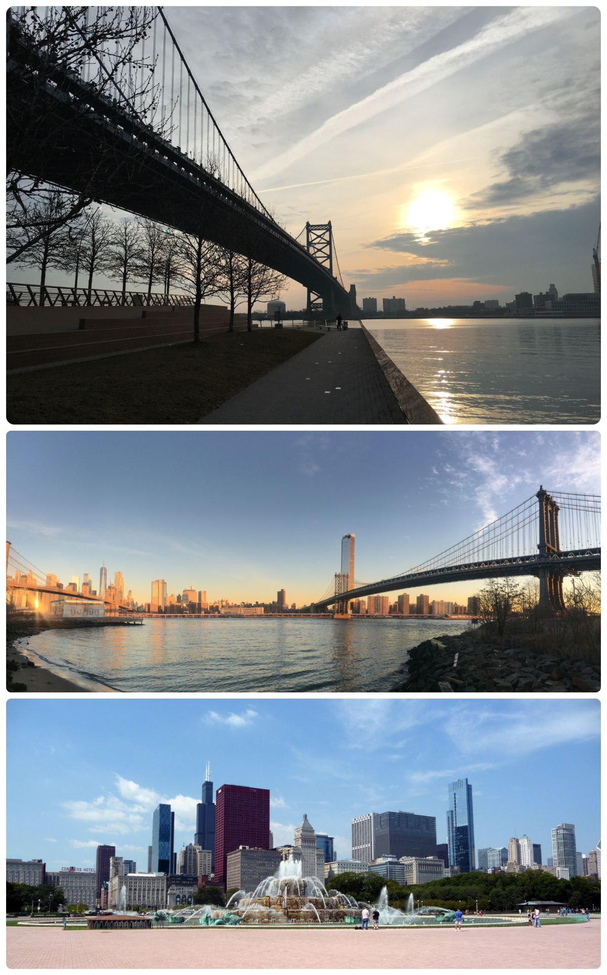 Top: New York City skyline taken from Brooklyn (DUMBO). Middle: Philadelphia (Camden, New Jersey in the background) and the Ben Franklin Bridge over the Delaware River. Bottom: Chicago's Buckingham Fountain.