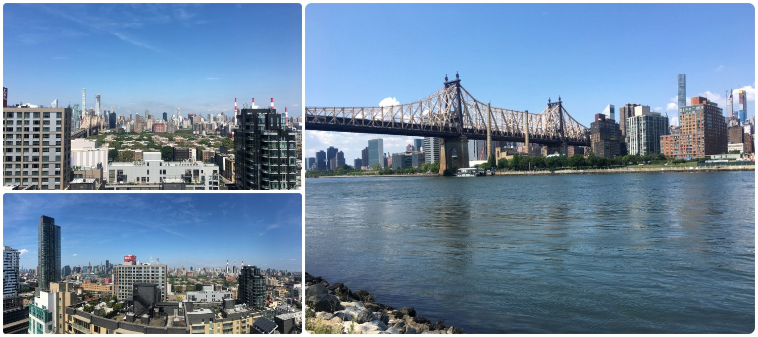 House sitting in Long Island City (LIC), Queens, New York! On the right is the view of Manhattan and the Ed Koch Queensboro Bridge a few blocks away from our house sit. On the left is the incredible views from the top level club house of the apartment we were house sitting!