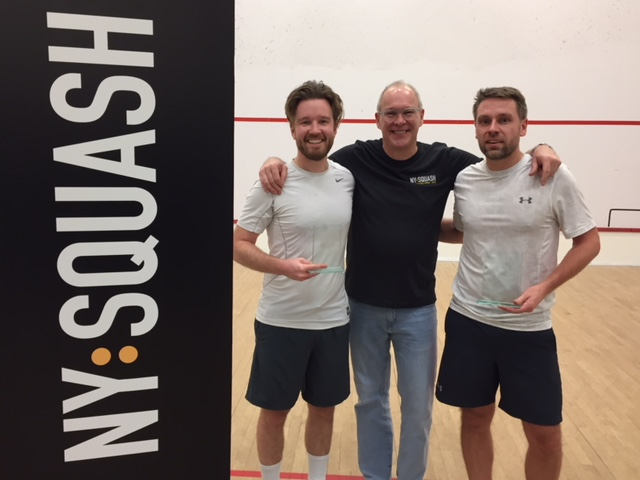 Grand Open 2018  Men's 4.0 division (L to R): Viktor Angwald (finalist), Cleve Miller (President, NY Squash), Euan Henderson (winner)