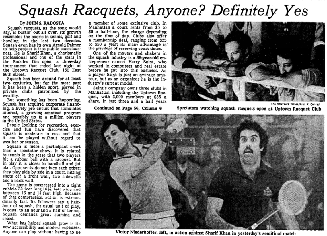 "New York Times, November 11, 1977….back when we called it ""squash racquets"" (hence our original name, the Metropolitan Squash Racquets Association). That's the great Sharif Khan again on the right, playing the legendary Victor Niederhoffer."