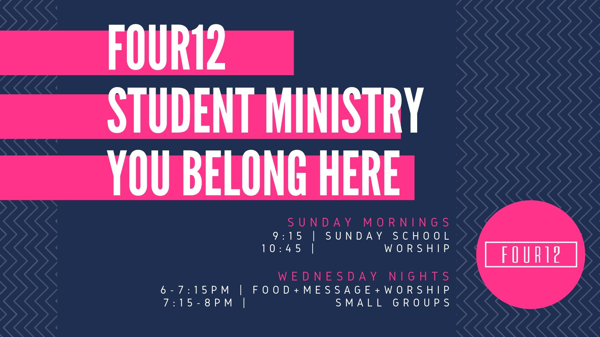 Sunday Morning Youth Schedule - Sunday mornings, 6th-12th grade students are encouraged to connect with each other, with adult leaders, and with Christ through large and small group gatherings. The time of fun, fellowship, study, and worship is intentionally designed to be a single 2 hour program in order for youth to receive the benefits of both large group worship + small group time.9:15-10:15 Hour - Sunday School for all grades 6-12thThe Path - Jr Hi | C230Confirmation - Jr Hi | C232-234The Take - Jr Hi | C236Area 51 - Sr Hi | C250_______________________________________10:45-11:45 Hour - Worship for all grades 6-12th gradesIn the Youth Room