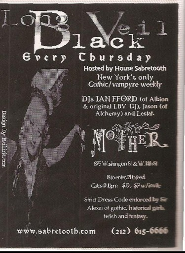 AN ORIGINAL FLYER FROM MOTHER AND LONG BLACK VEIL IN 1998