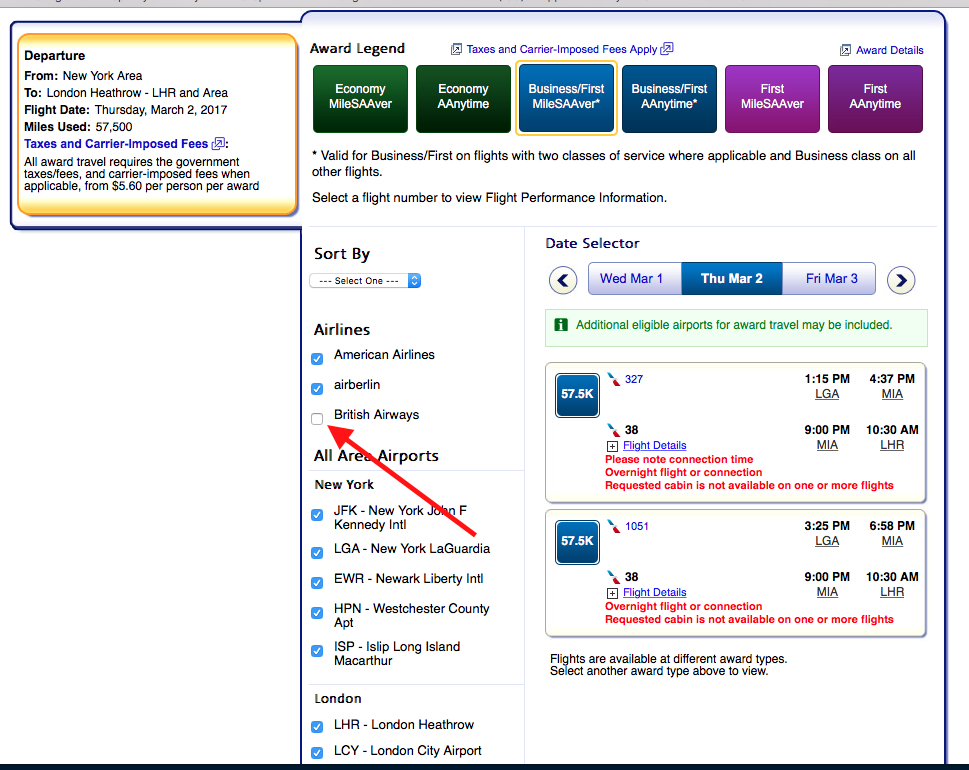 Make sure to de-select British Airways so that you don't get stuck with massive surcharges!
