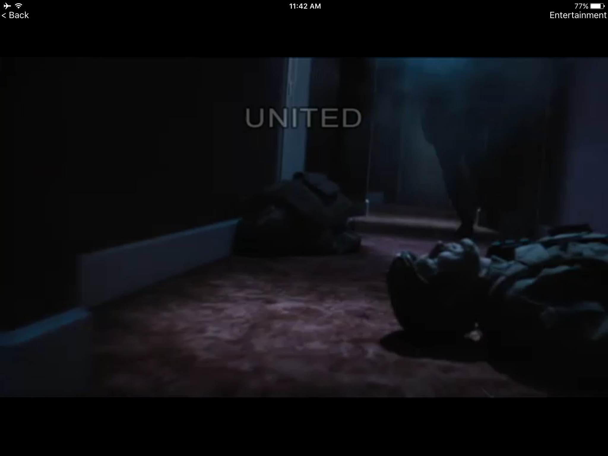 The United watermark, an anti-piracy measure, showed up once during the movie.