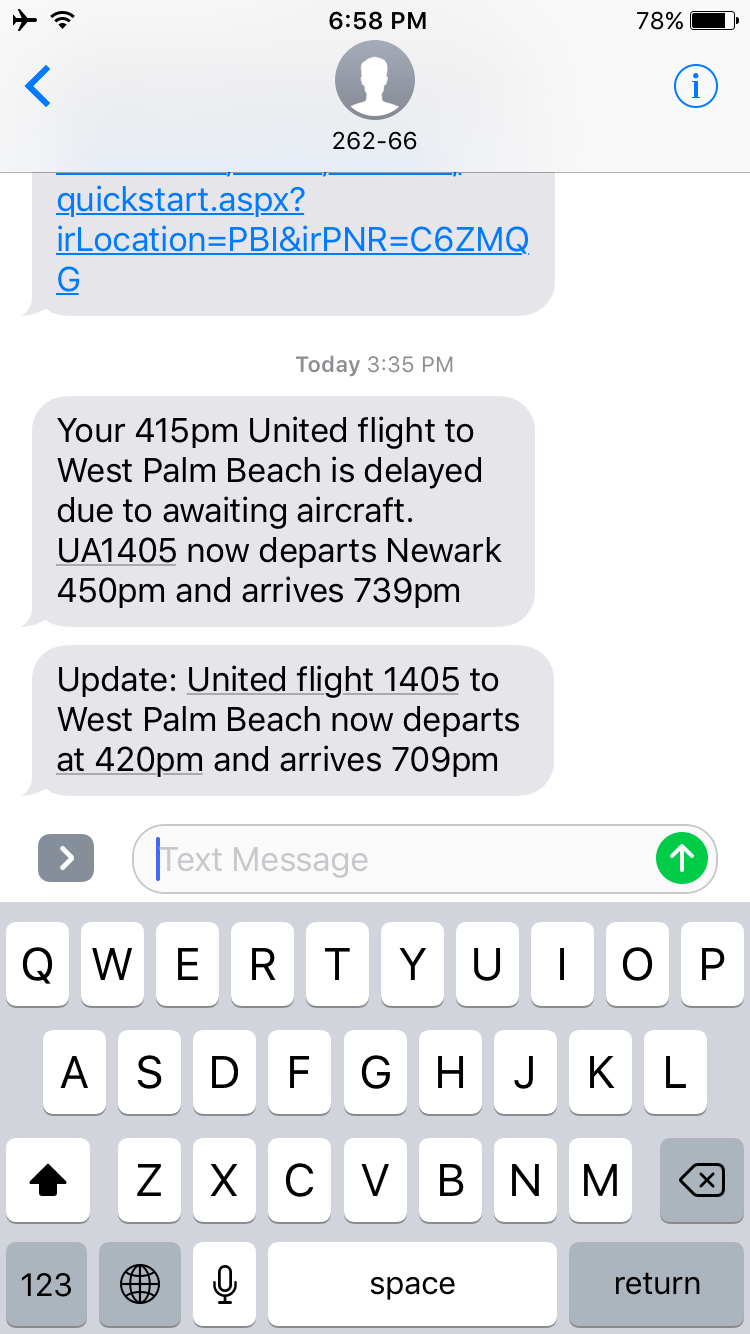 35-minute delay, updated a few minutes later to five minutes