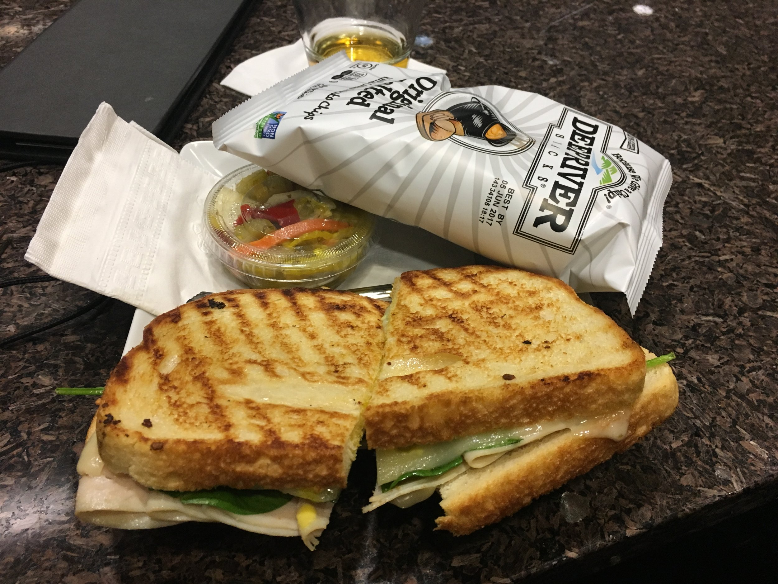 """Sandwich at the Admiral Lounge (and a """"premium drink"""" photobomb)"""