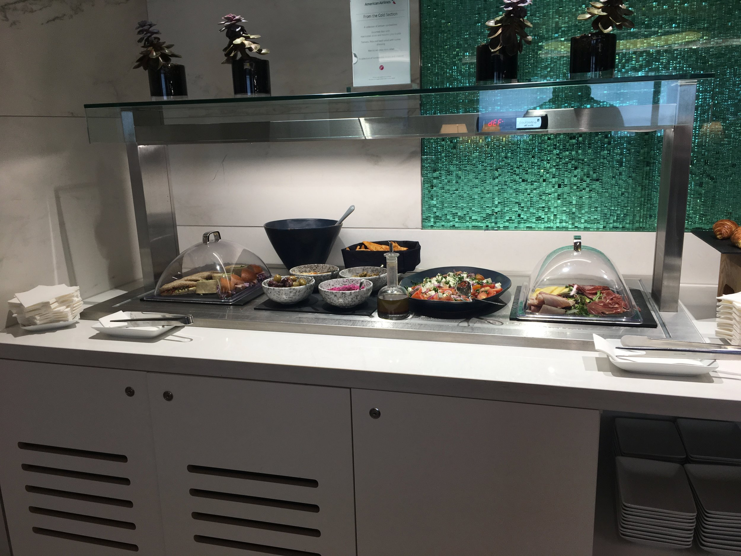 Part of the buffet at the AA arrivals lounge at LHR.
