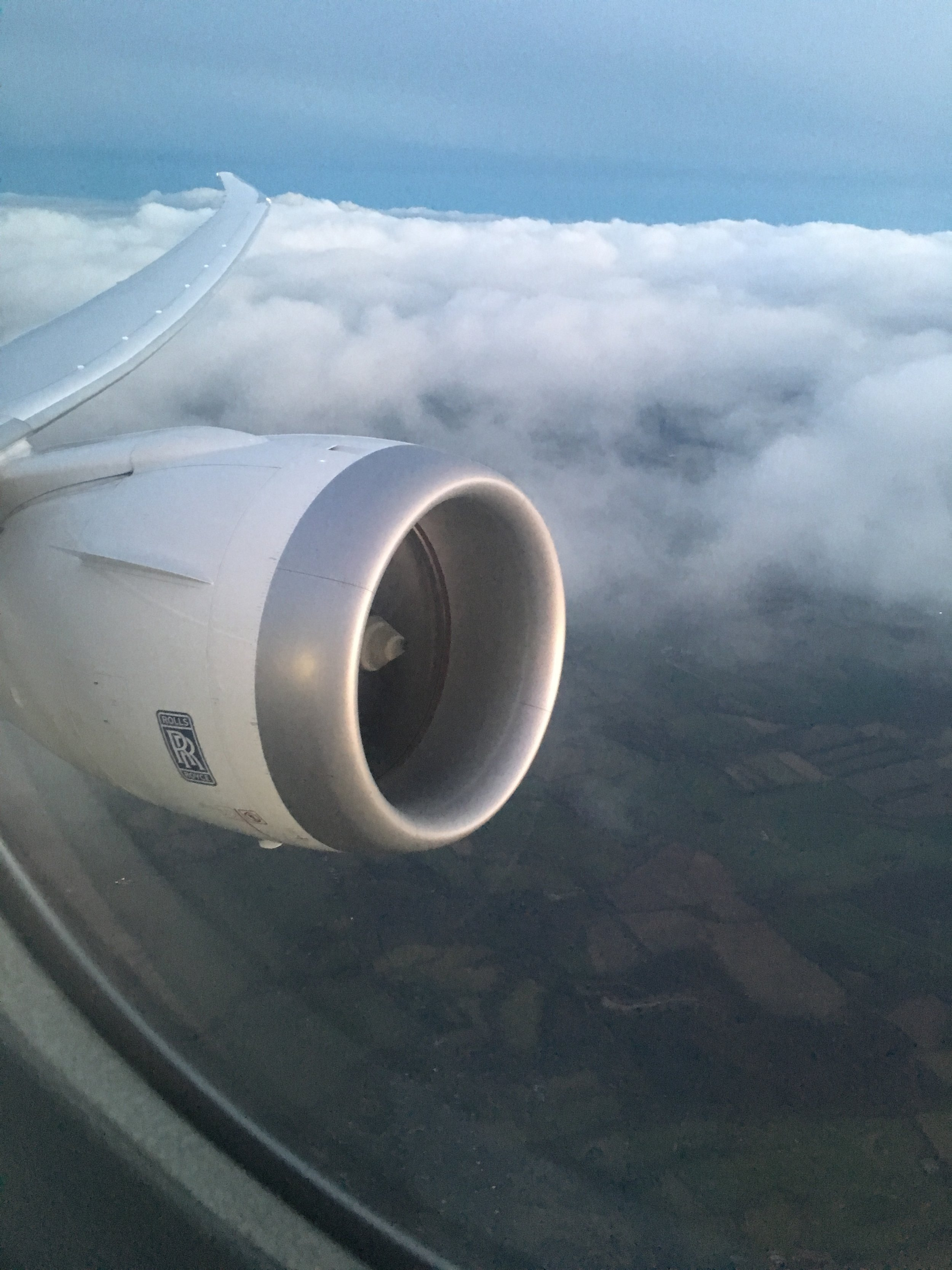 Flying above England in a 787. Happy travels!