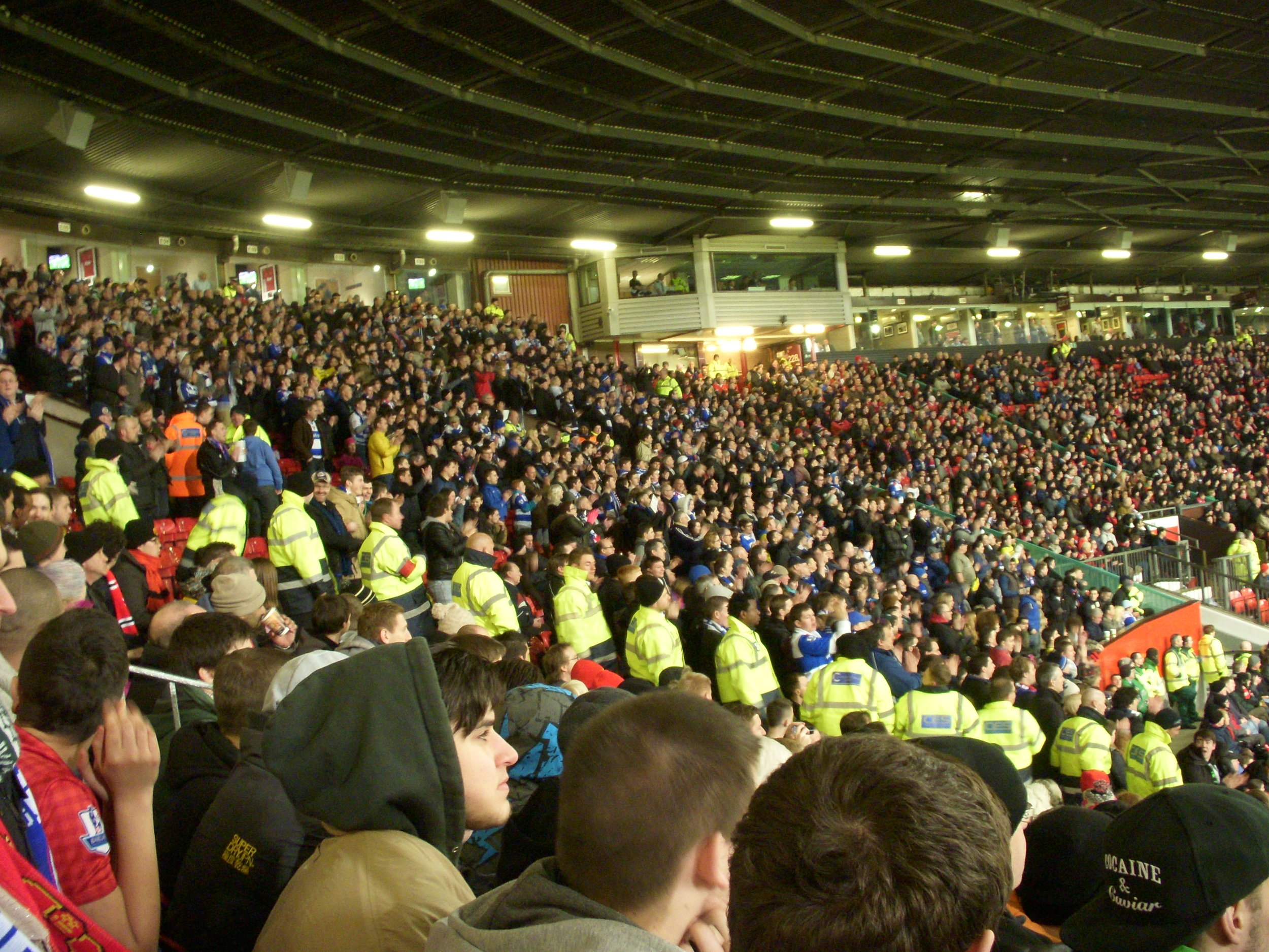 The Reading support at Old Trafford