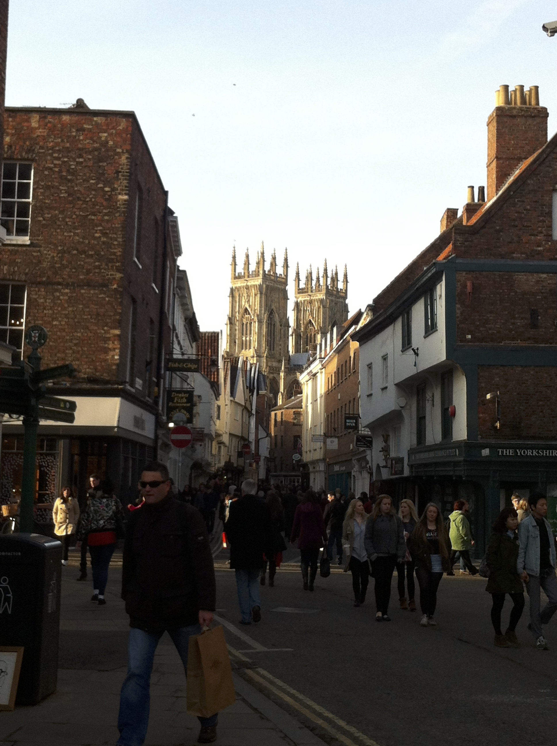 York Cathedral visible in the distance as we walk through town.