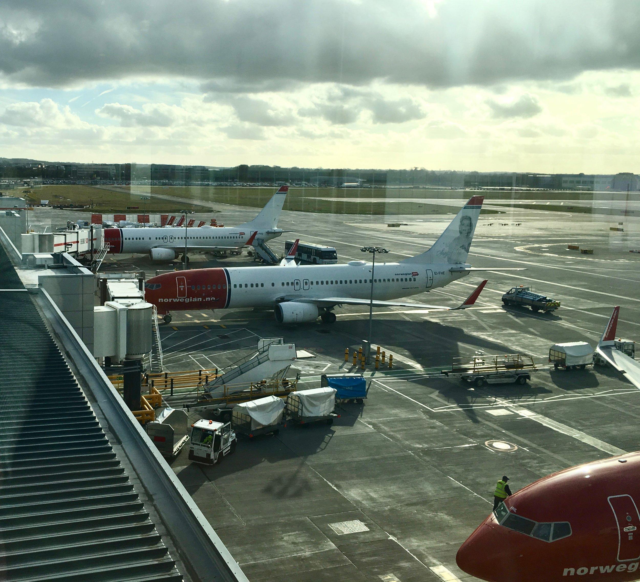 Norwegian 737s outside the lounge.