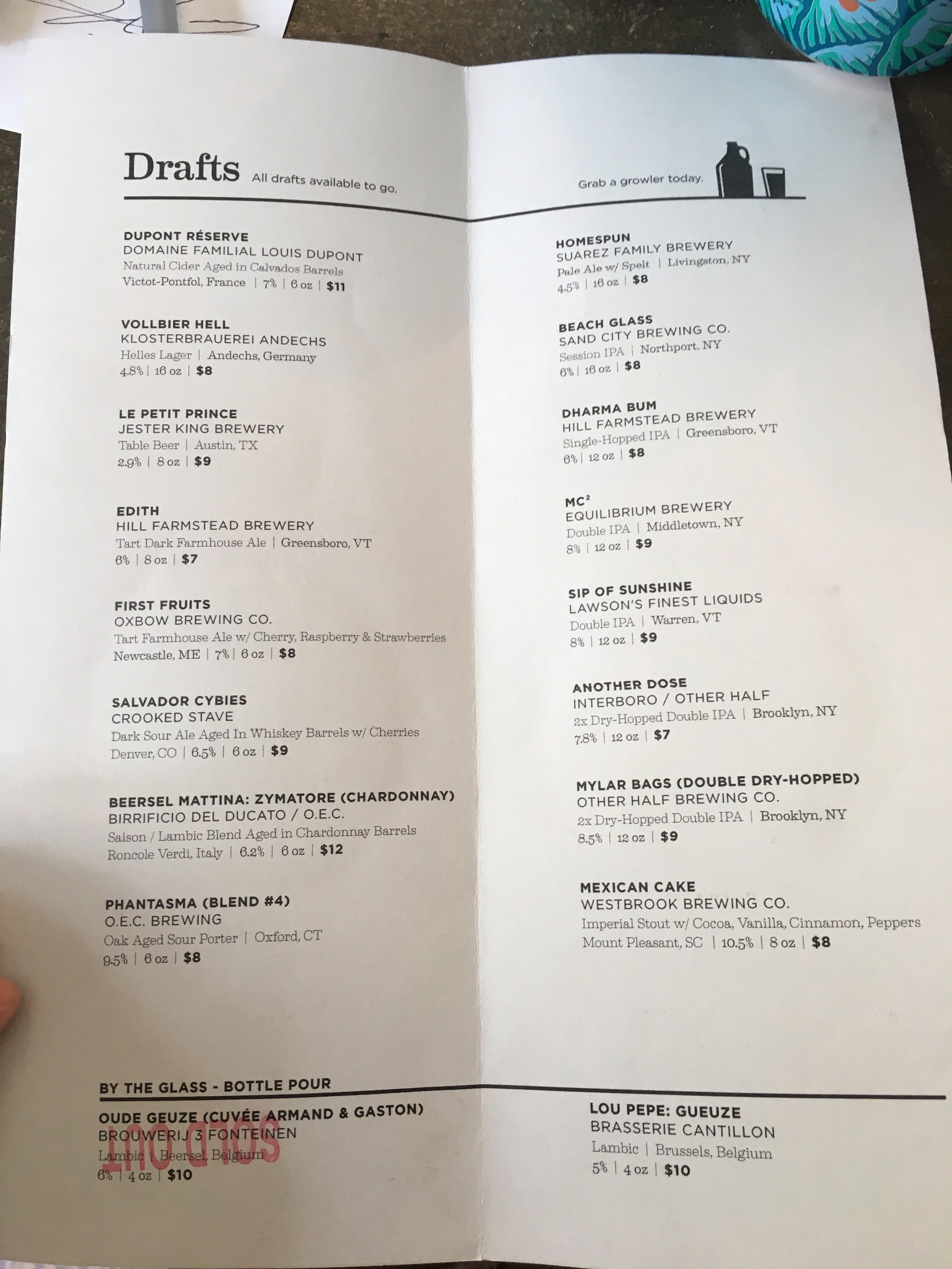 Menu during the second anniversary party