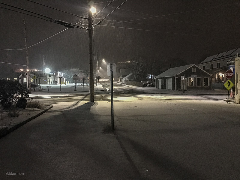 Five Corners on a snowy night