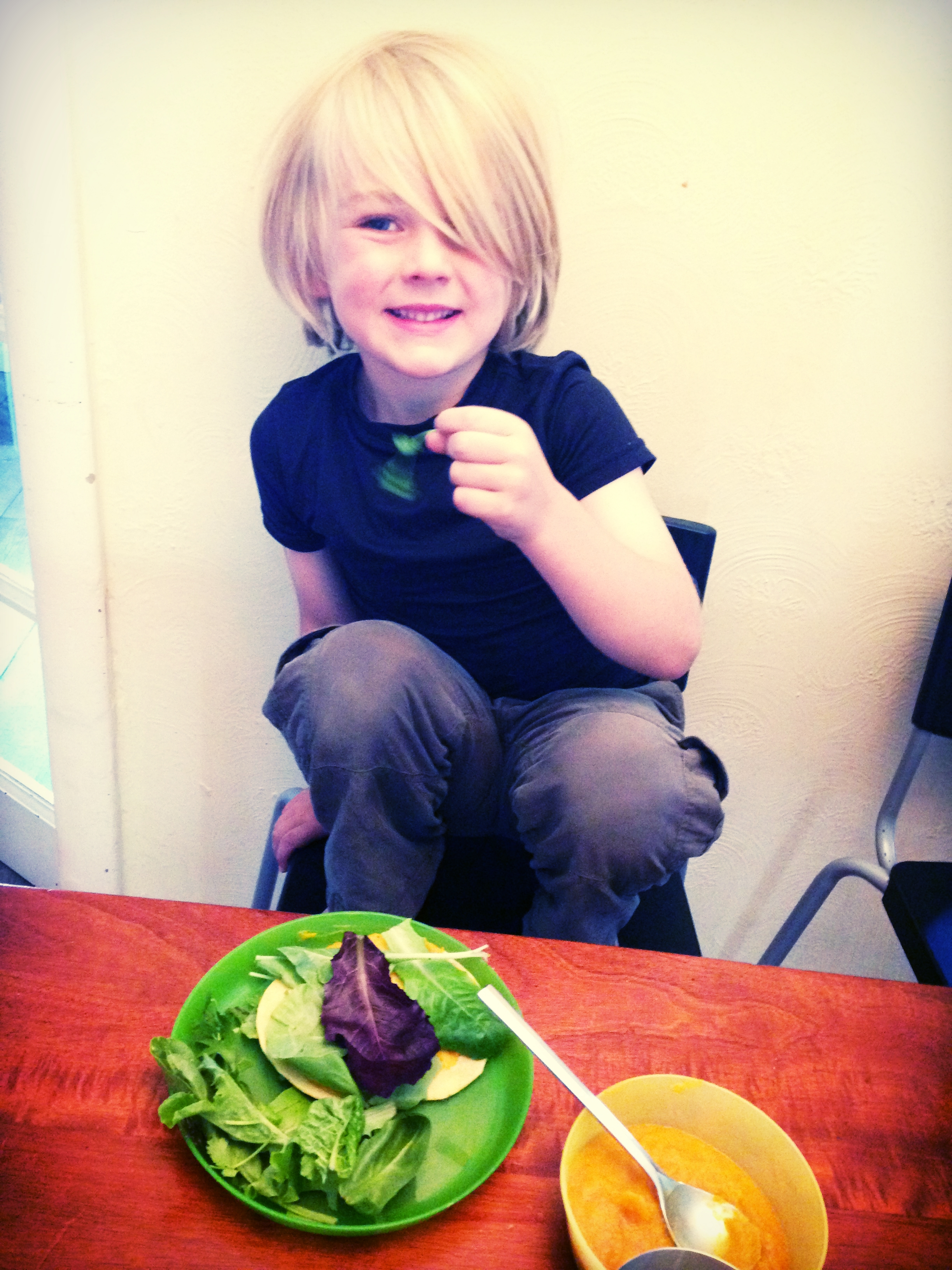Check out that happy face! Cole is eating mixed greens, no dressing and he has a bowl of butternut squash soup. He gets the plantain chips after these dishes are eaten. Use your leverage, friends! :)