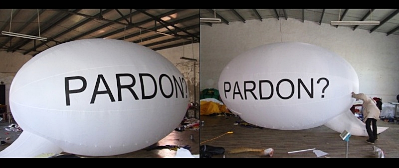 'Pardon' (2017) Site specific installation (work in progress) 20 x 10 ft Nylon Ripstop inflatable and built in time controlled fan.