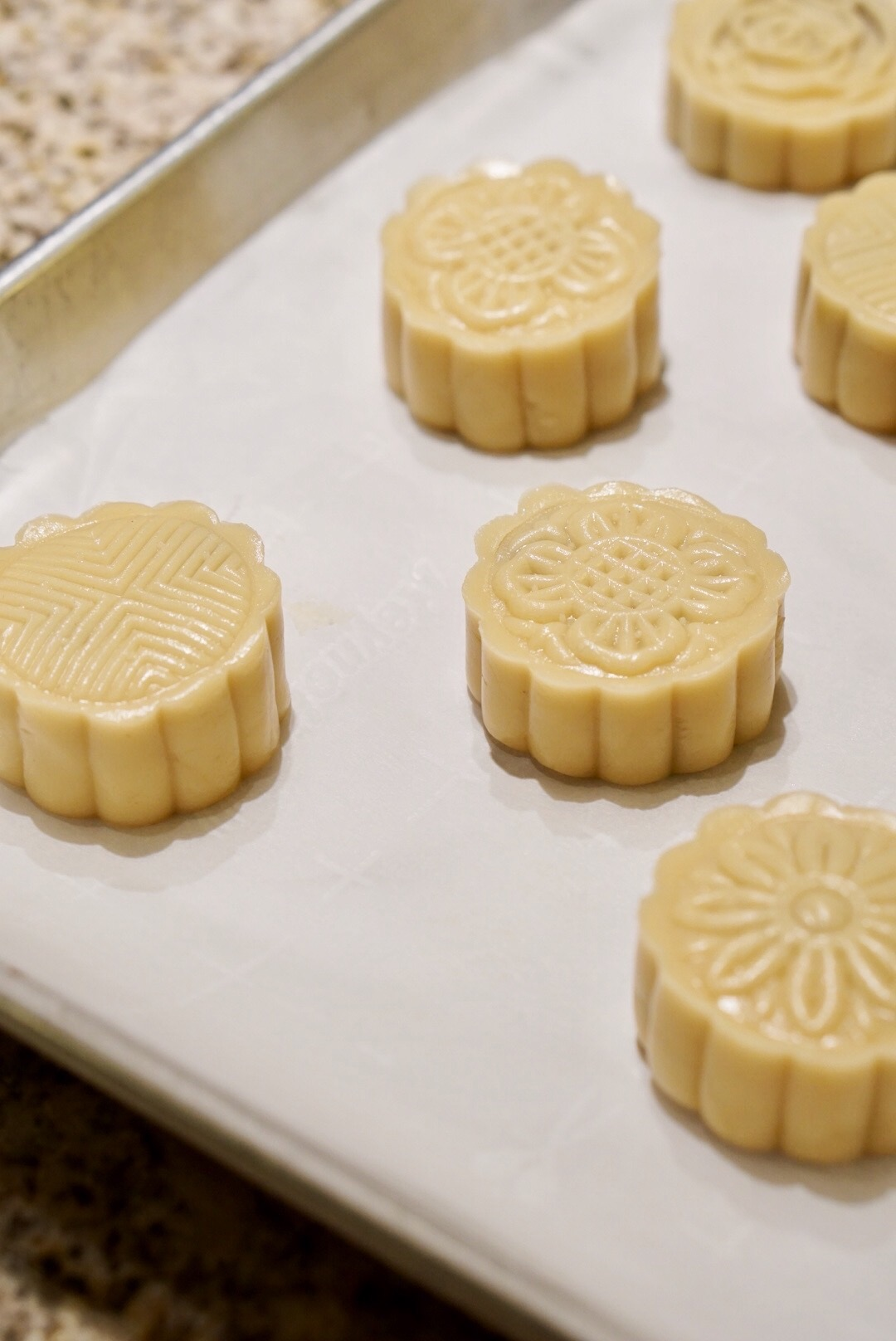 Freshly pressed out of the mooncake molds <3