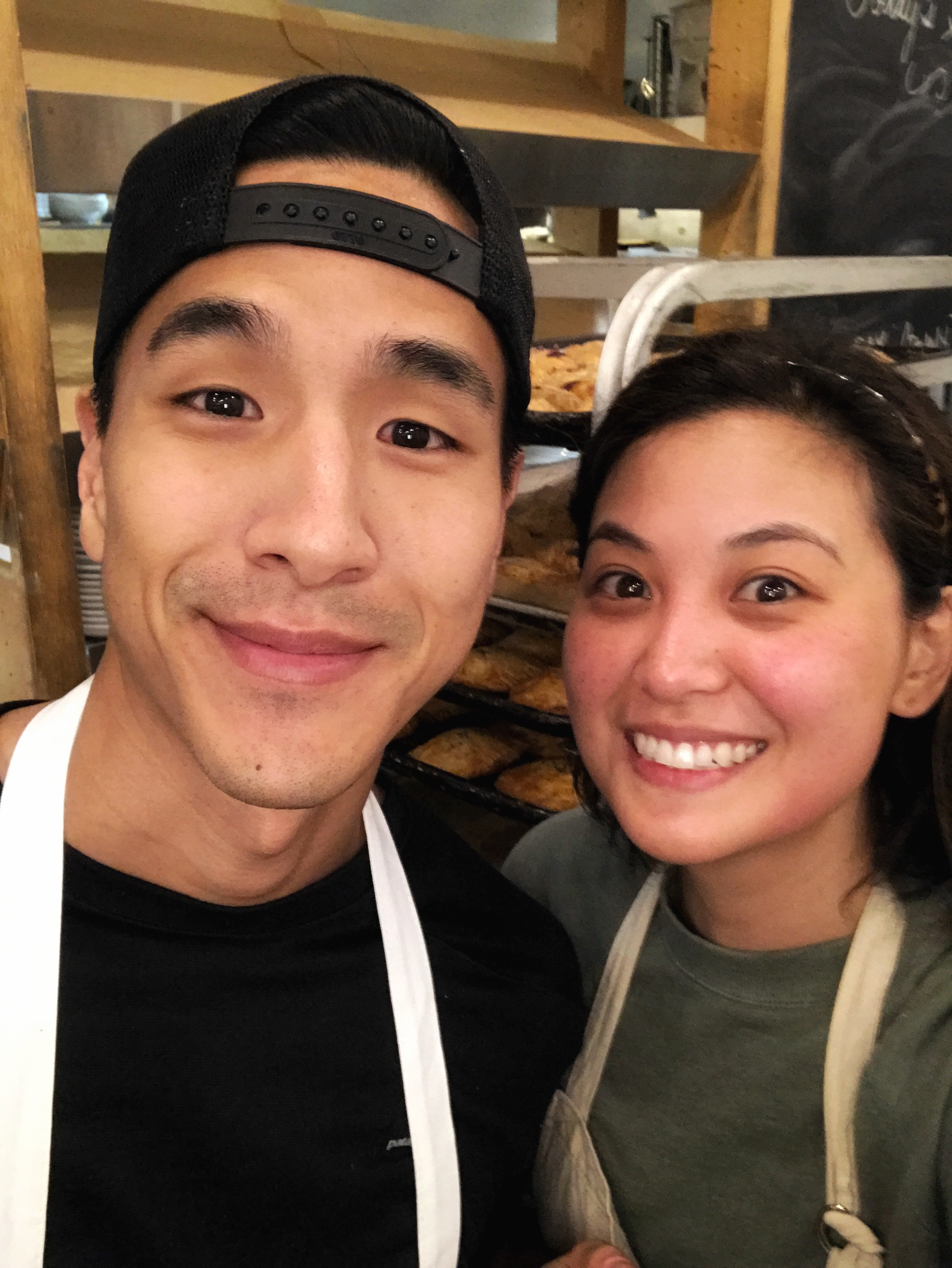 Kelvin and I were up at 2:30am baking off all the pies! #bakerylife