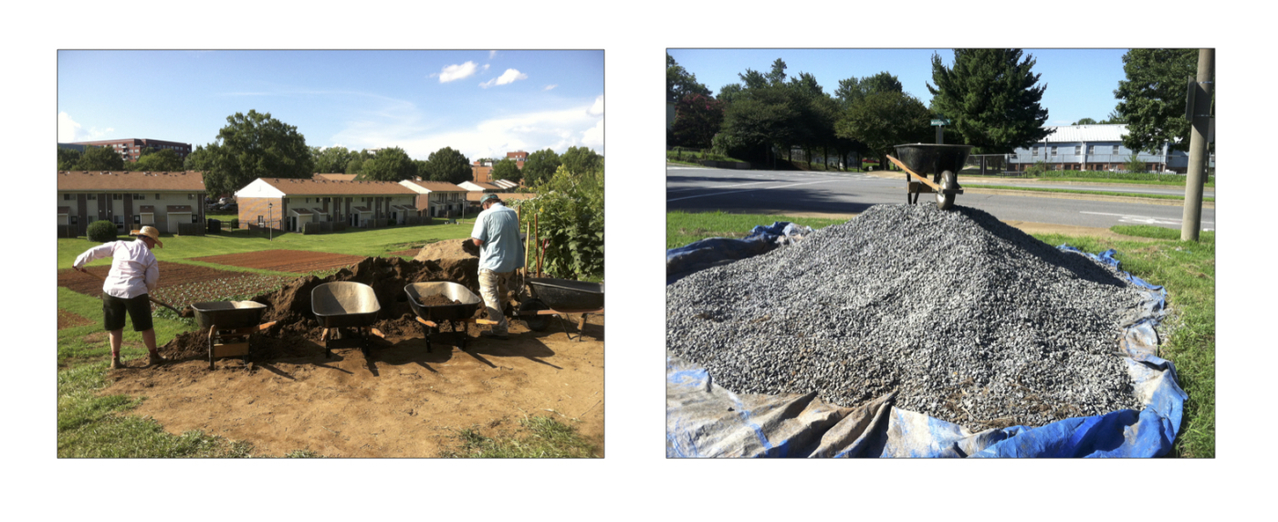 Helen and Miro help make a dent in the topsoil. Say, that's a lot of gravel.