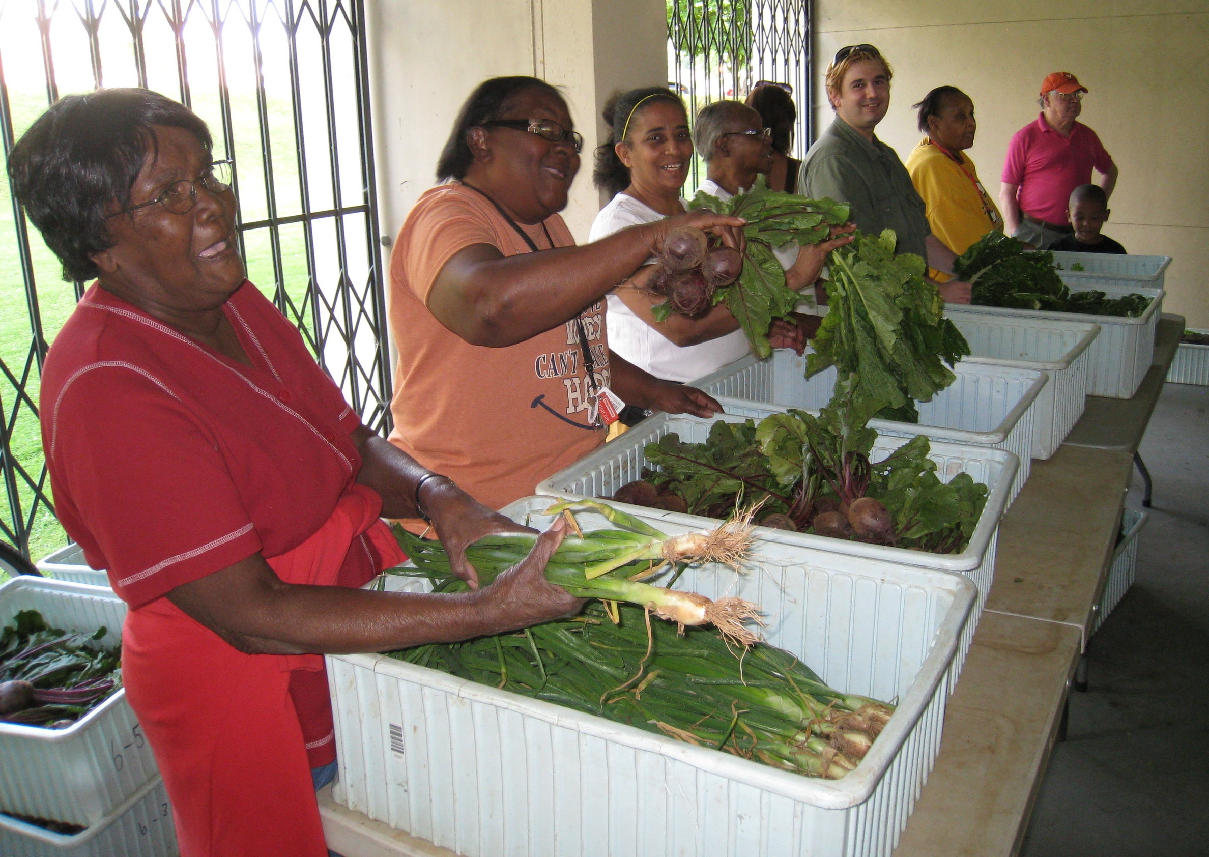Volunteers prepare to share vegetables with neighbors at Crescent Halls - June 2012