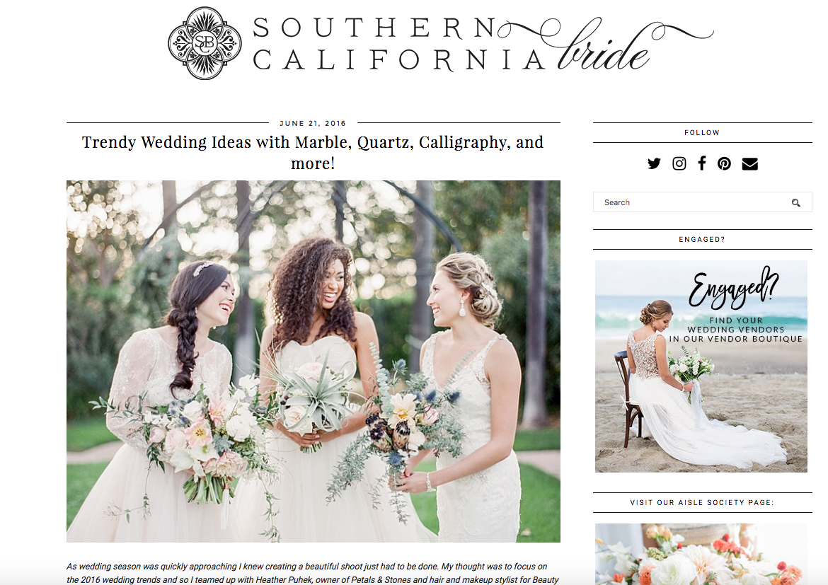 Featured on Southern California Wedding Blog   All In The Detail Design