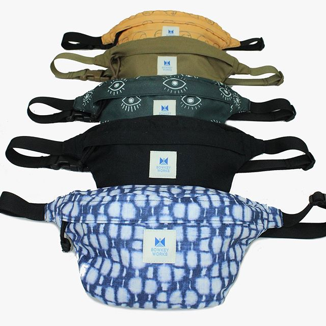 Our new Futura Belt Bags can be worn as crossbody bags as well.  Available in Shibori, Eyes, Portrait, Black & Coyote Brown.  All handcrafted in USA.