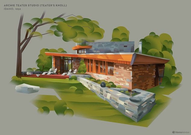 Idaho's listing in homeadvisor.com's concise listing of Frank Lloyd Wright homes in each state. #modernmondays