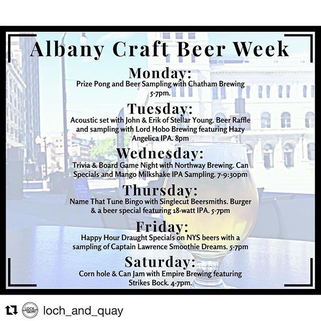 Fun lineup of events all week next week at Loch and Quay on Broadway!  #Repost @loch_and_quay ・・・ Calling all Beer Nerds! Next week is @albanycraftbeerweek so we've packed our schedule with tasty brews and loads of fun events. Come hang next week and be sure you don't miss trivia tonight with @jareddreed ! #414broadway #justshowup #nocrapontap . . . . . . #albany #craftbeer #craftbeerweek #518 #downtownalbany @chathambrewing @lordhobobrewing @northwaybrewingco @singlecutnorth @captlawrence @empirebrew #bartenderlife #trivia