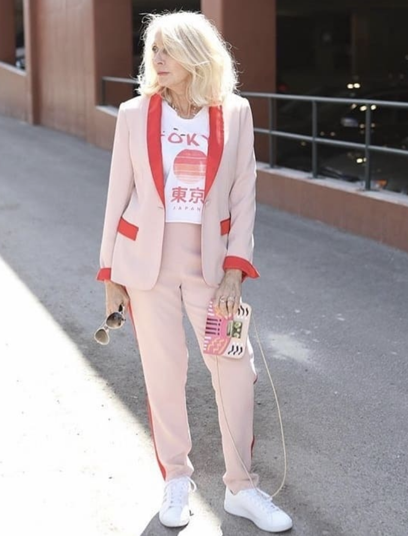 Globe trotter and blogger Sonia is the essence of cool in our pink and red tux paired back with one of her favorite T's from all her travel adventures. -